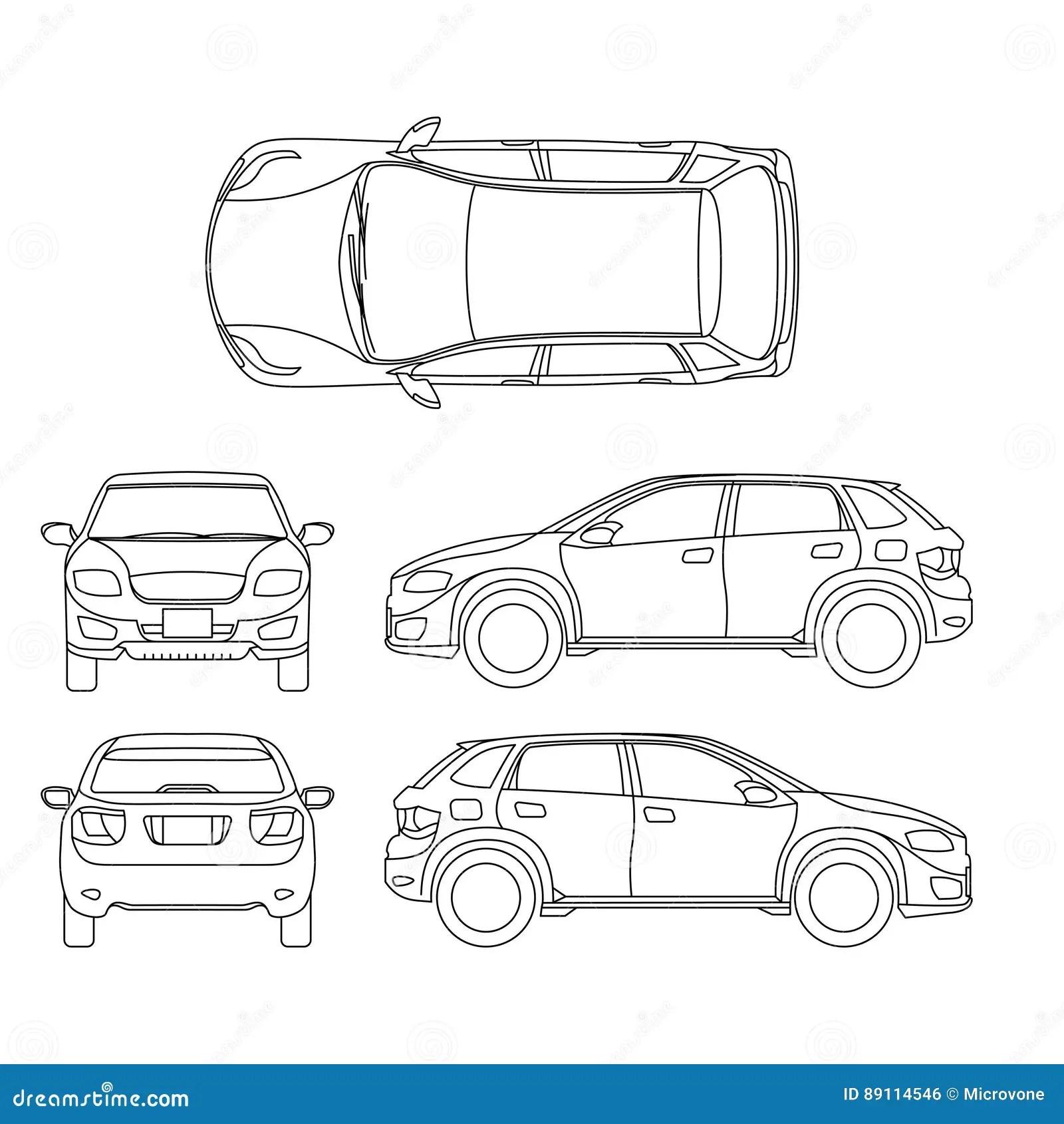 Offroad Suv Konturu Wektoru Auto Pojazd Ilustracja Wektor