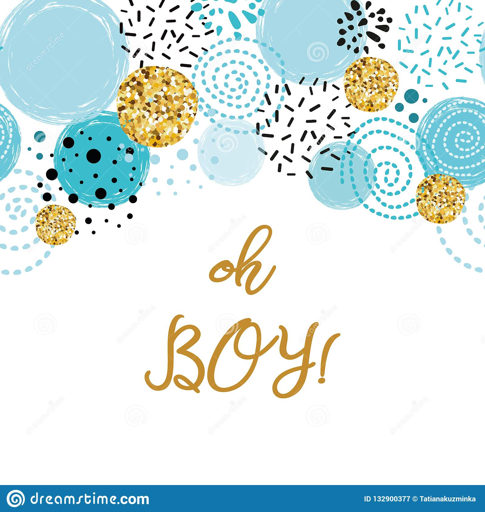 https www dreamstime com oh boy cute baby shower blue gold round elements boy birthday invitation abstract border phrase oh boy cute baby shower image132900377
