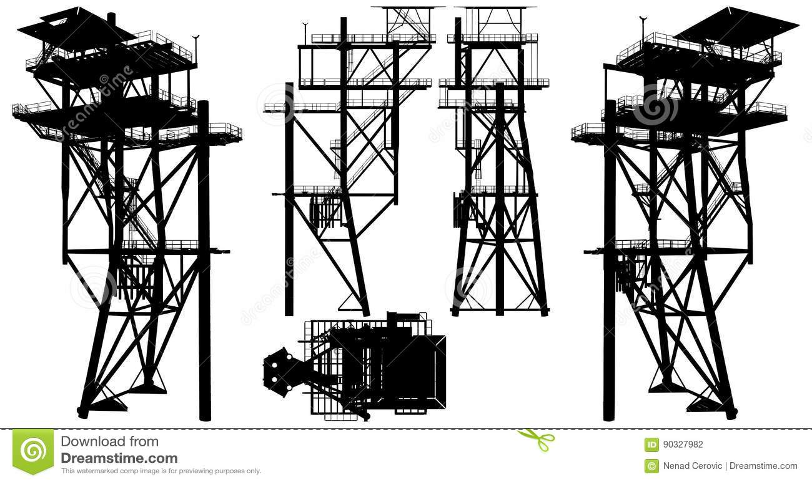 Oil Construction Platform Vector Stock Vector