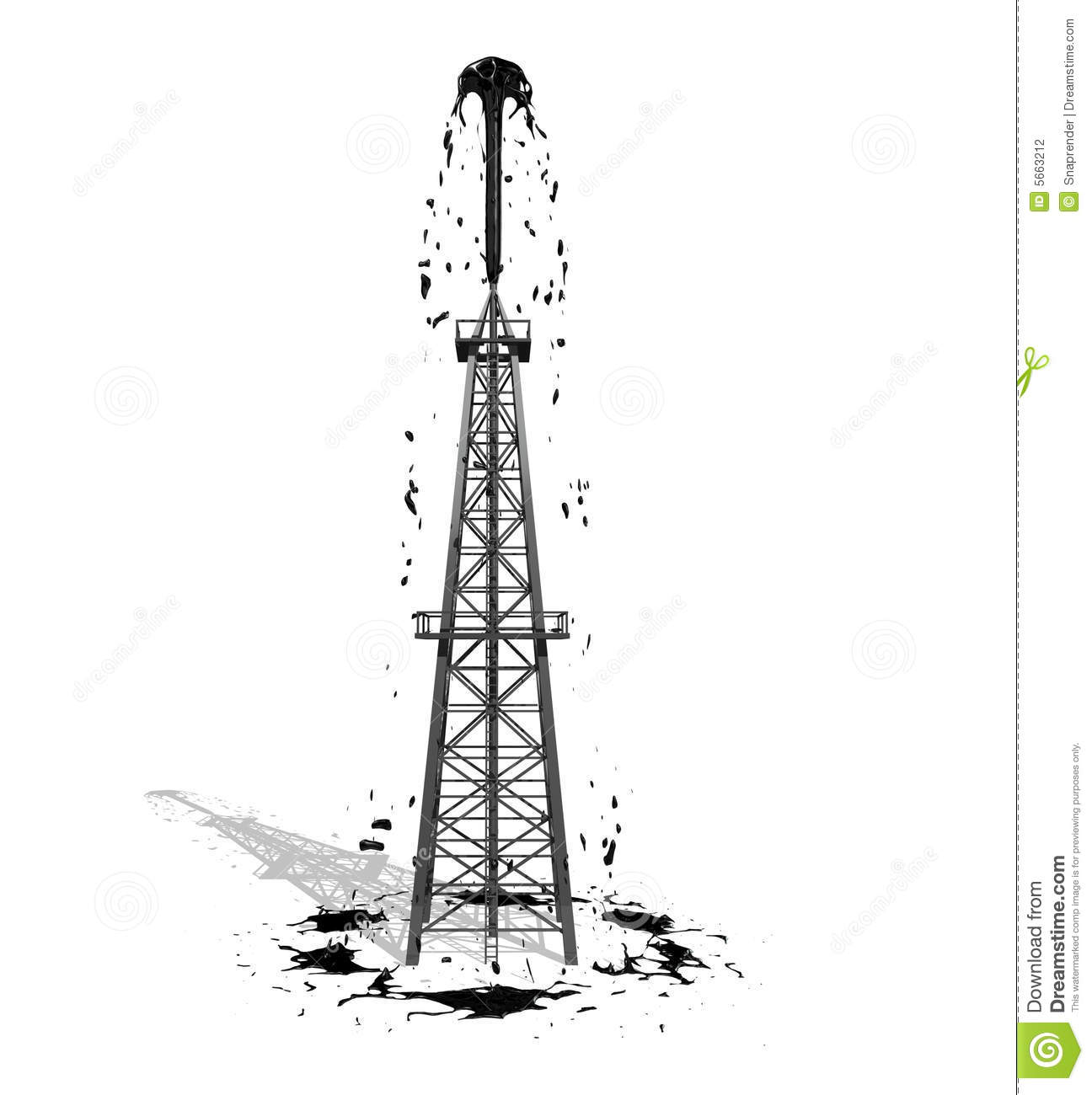 Oil Derrick 2 With Shadow Stock Illustration Image Of