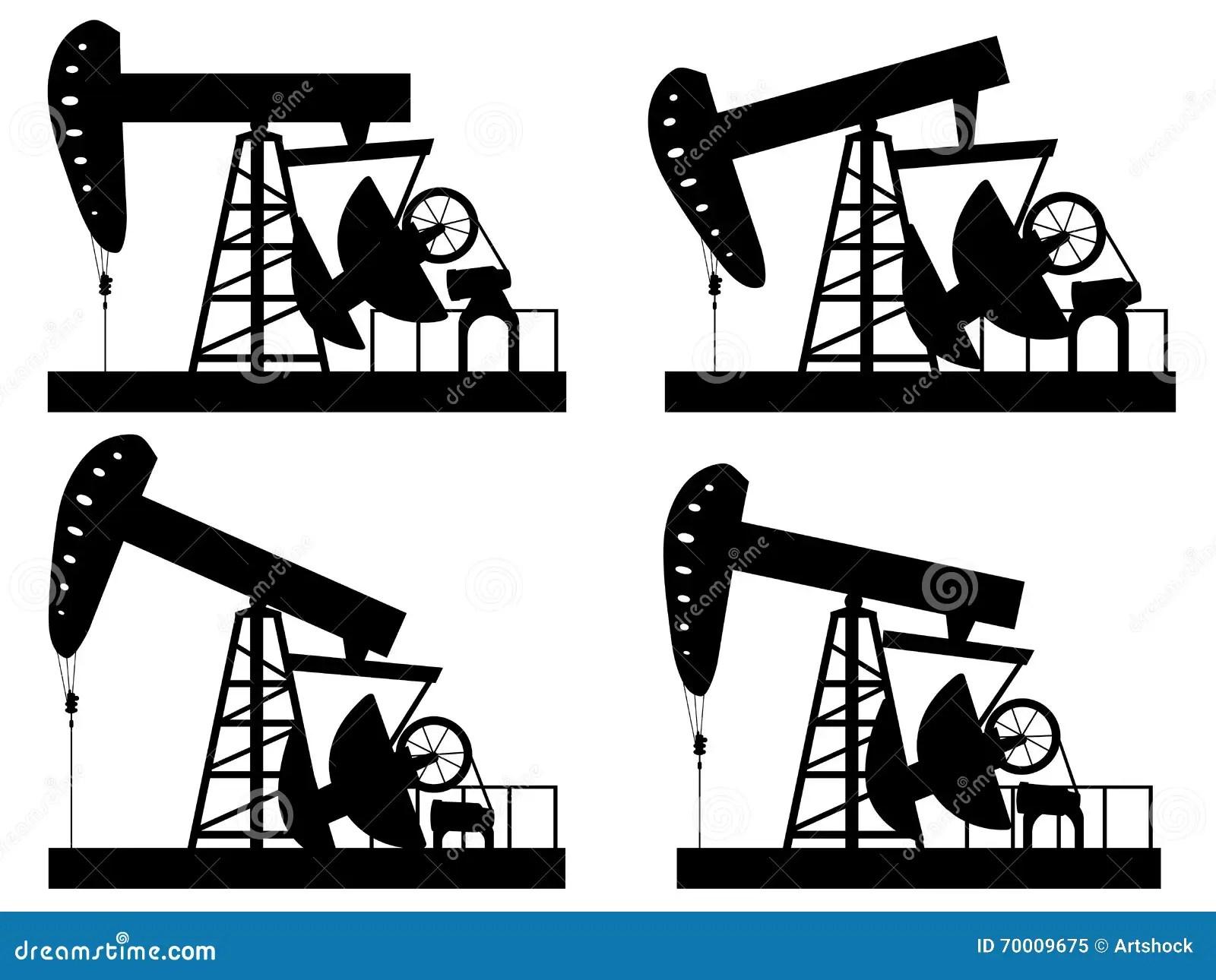 Oil Derrick Silhouette Stock Vector Illustration Of