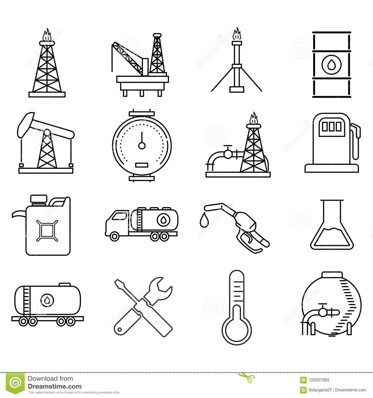 Pipeline Icons Set Outline Style Cartoon Vector