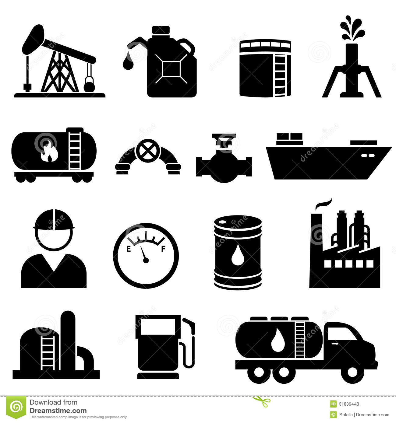 Oil And Petroleum Icon Set Stock Vector Image Of