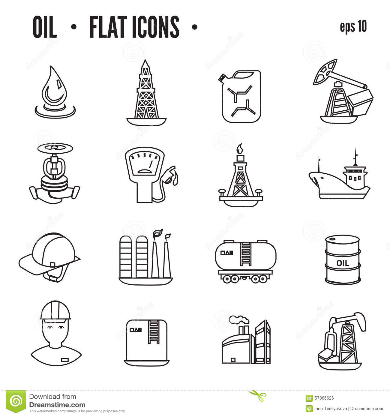 Oil And Petroleum Icon Set Flat Isolated Vector