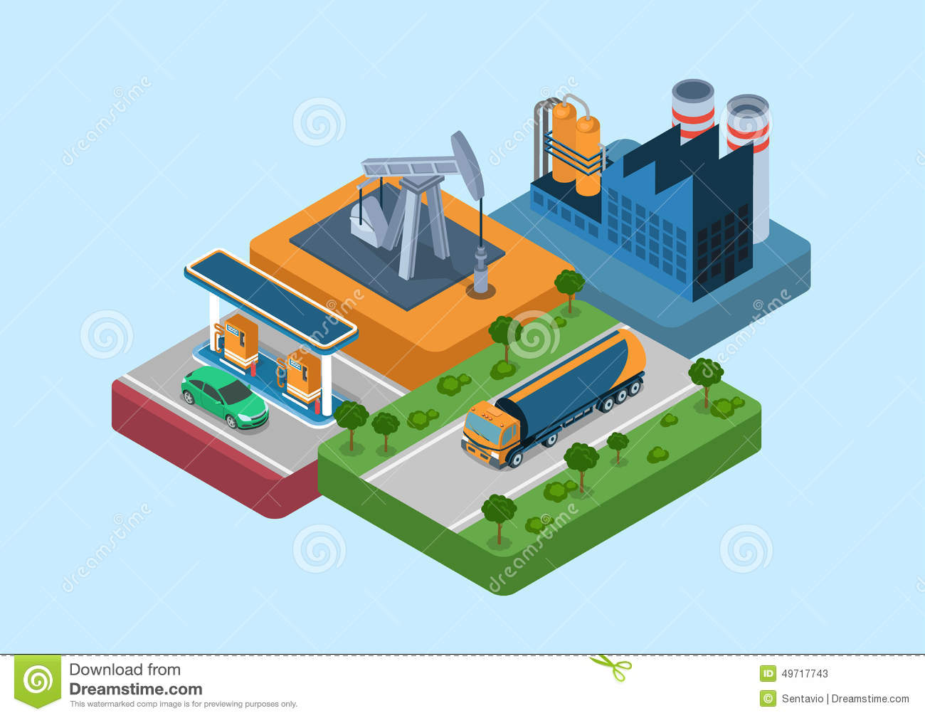 Oil Production Cycle Flat 3d Web Isometric Infographic