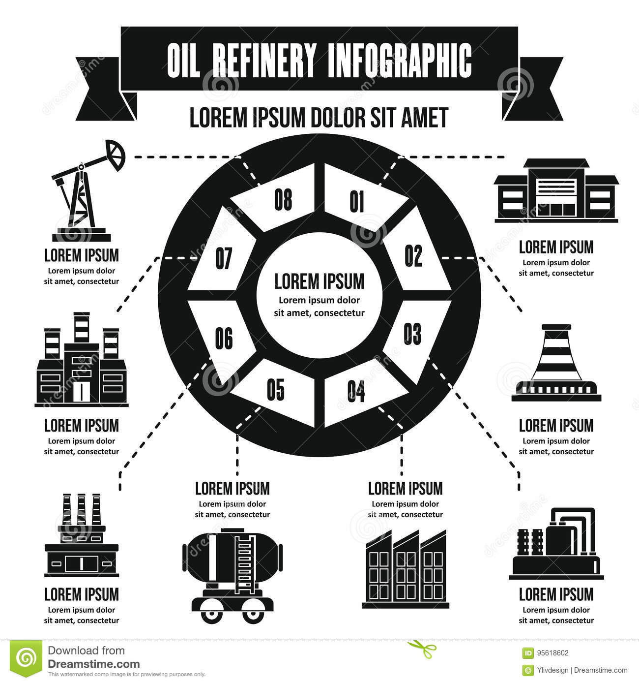 Oil Refinery Infographic Concept Simple Style Stock