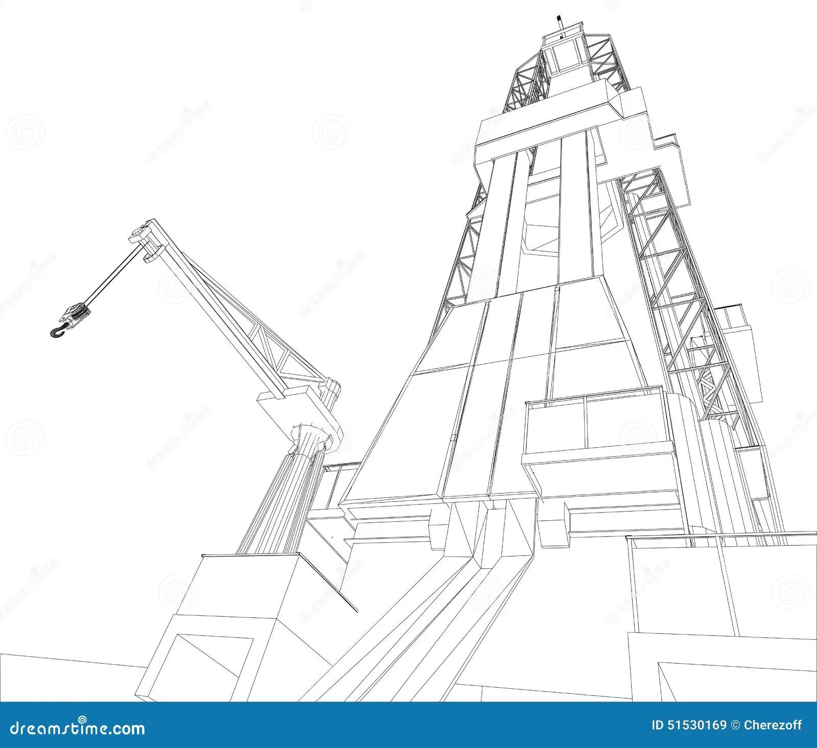 Oil Rig Detailed Vector Illustration Stock Vector