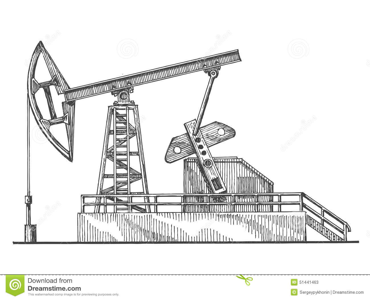 Oil Rocking Oil Pump On A White Background Stock Illustration