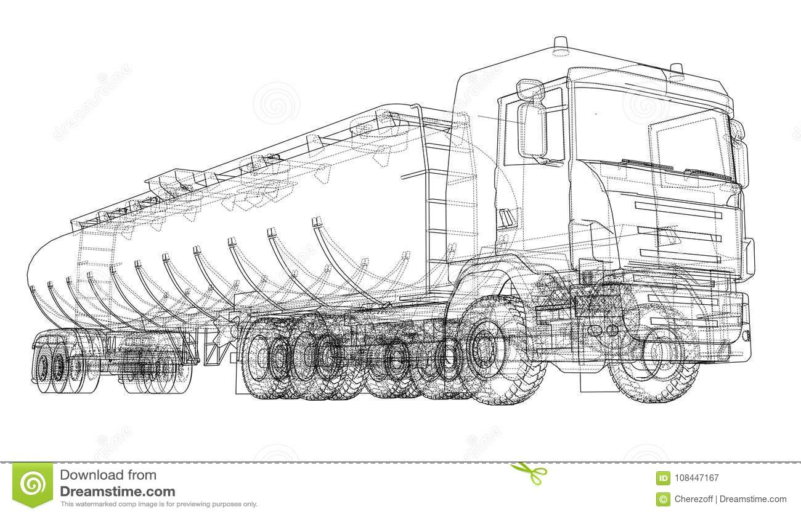 Oil Truck Sketch Illustration Stock Vector