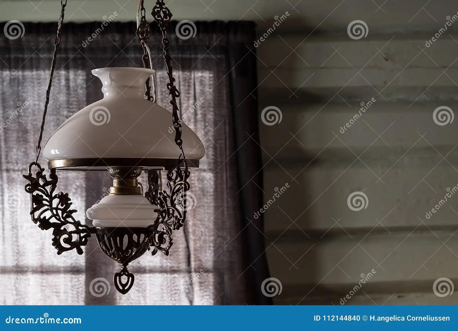 https www dreamstime com old antique glass lamp hanging ceiling rustic living room elegant vintage lighting brass ornament copy space image112144840