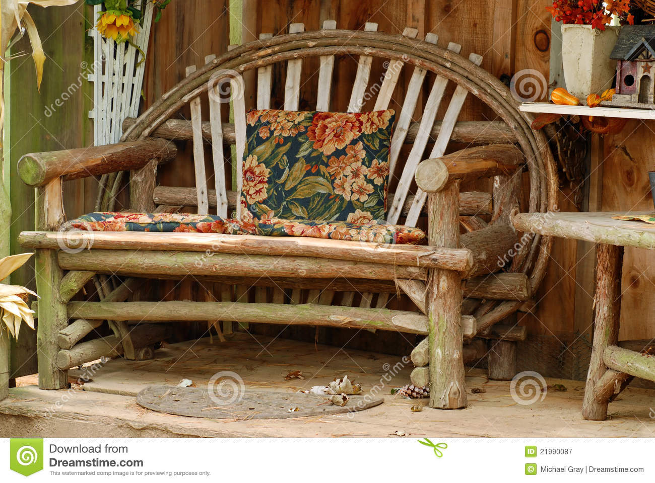 Old Bench Made Of Tree Branches Stock Image Image Of