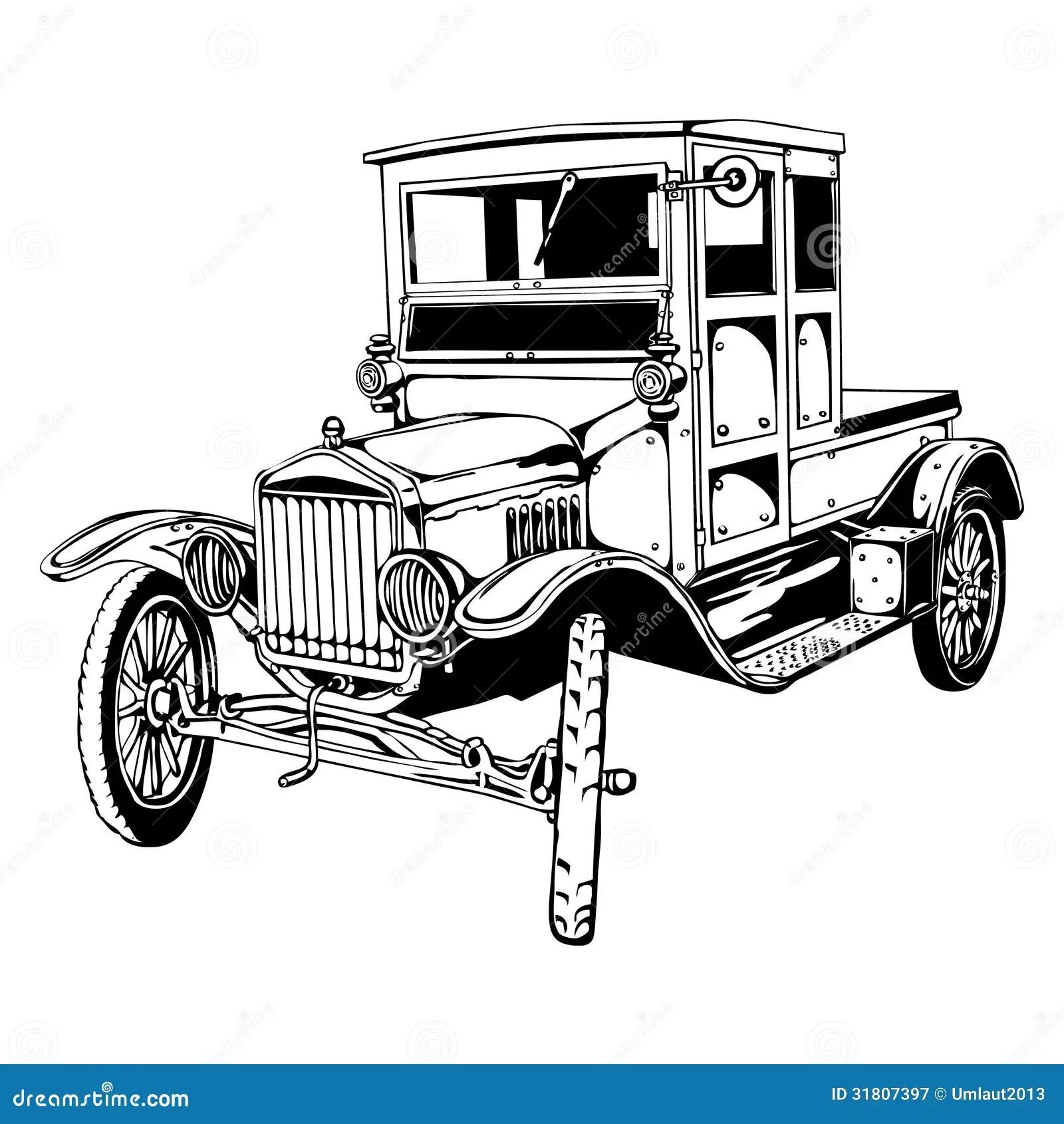 Old Car Truck Stock Vector Image Of Illustration Motor