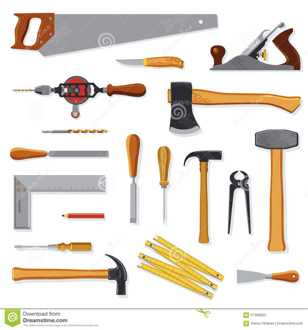 Old Carpenter Tools On White Stock Vector