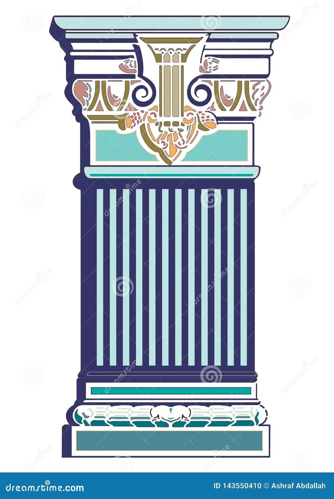 Old Classic Art Greek Decorative Column Vector Stock