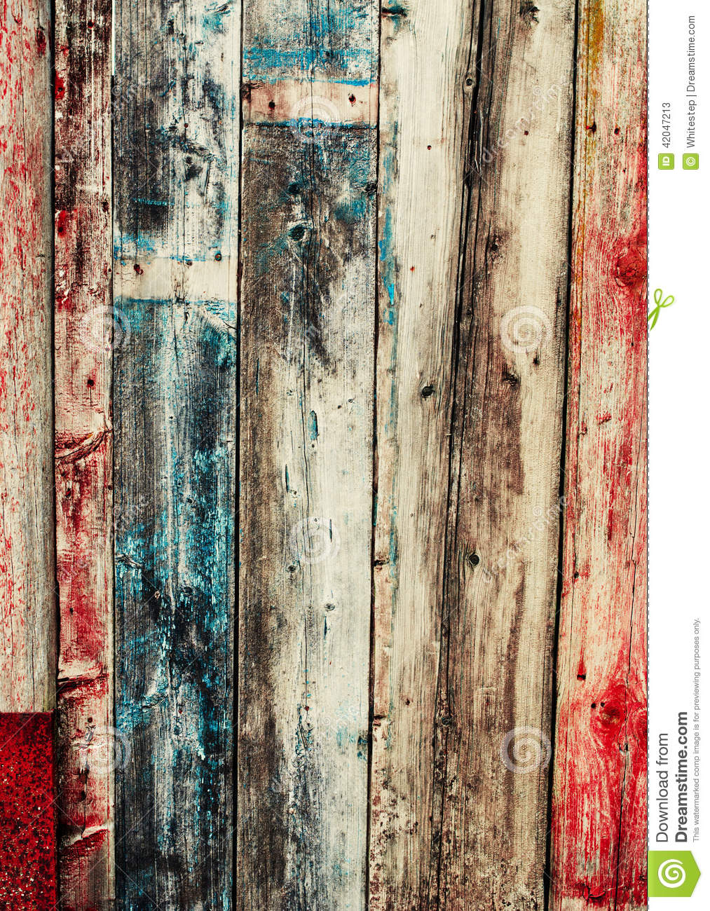 Old Colored Wooden Planks Cracked Paint Stock Image