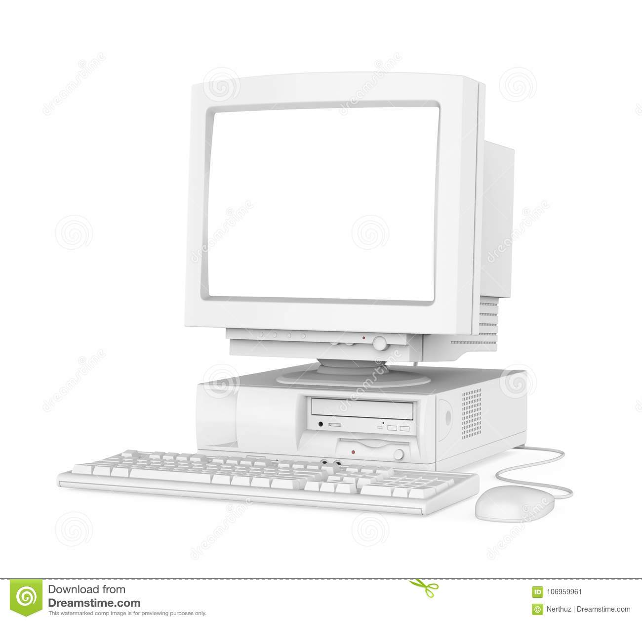 Old Desktop Computer With A Blank White Screen Monitor