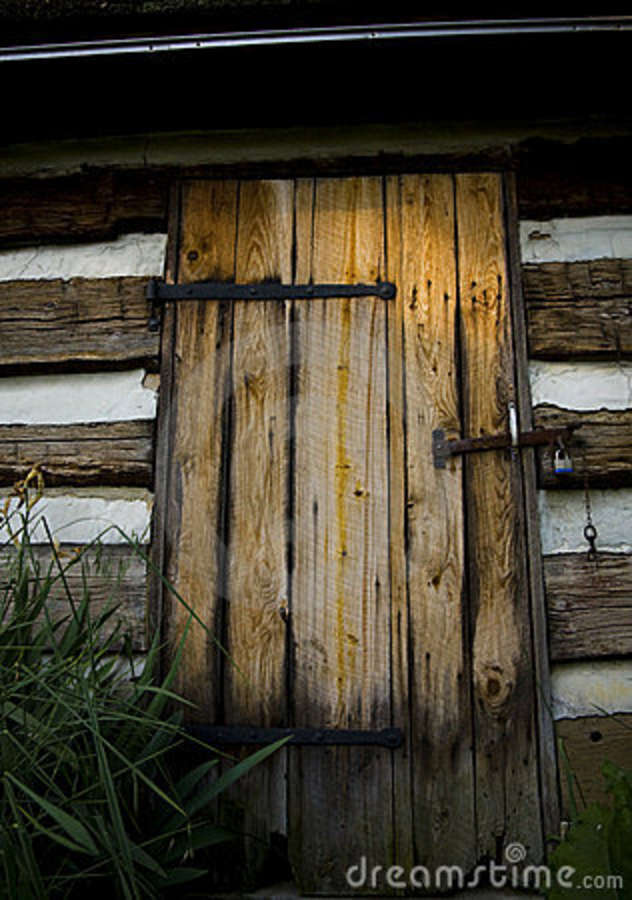 Old Door On Log Cabin Stock Photo Image Of Wrought Door