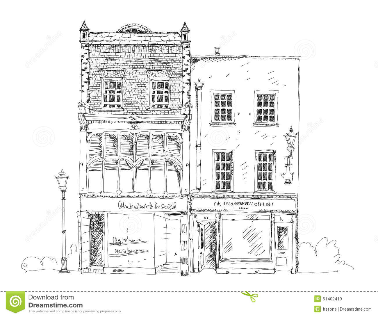 Old English Town House With Small Shop Or Business On