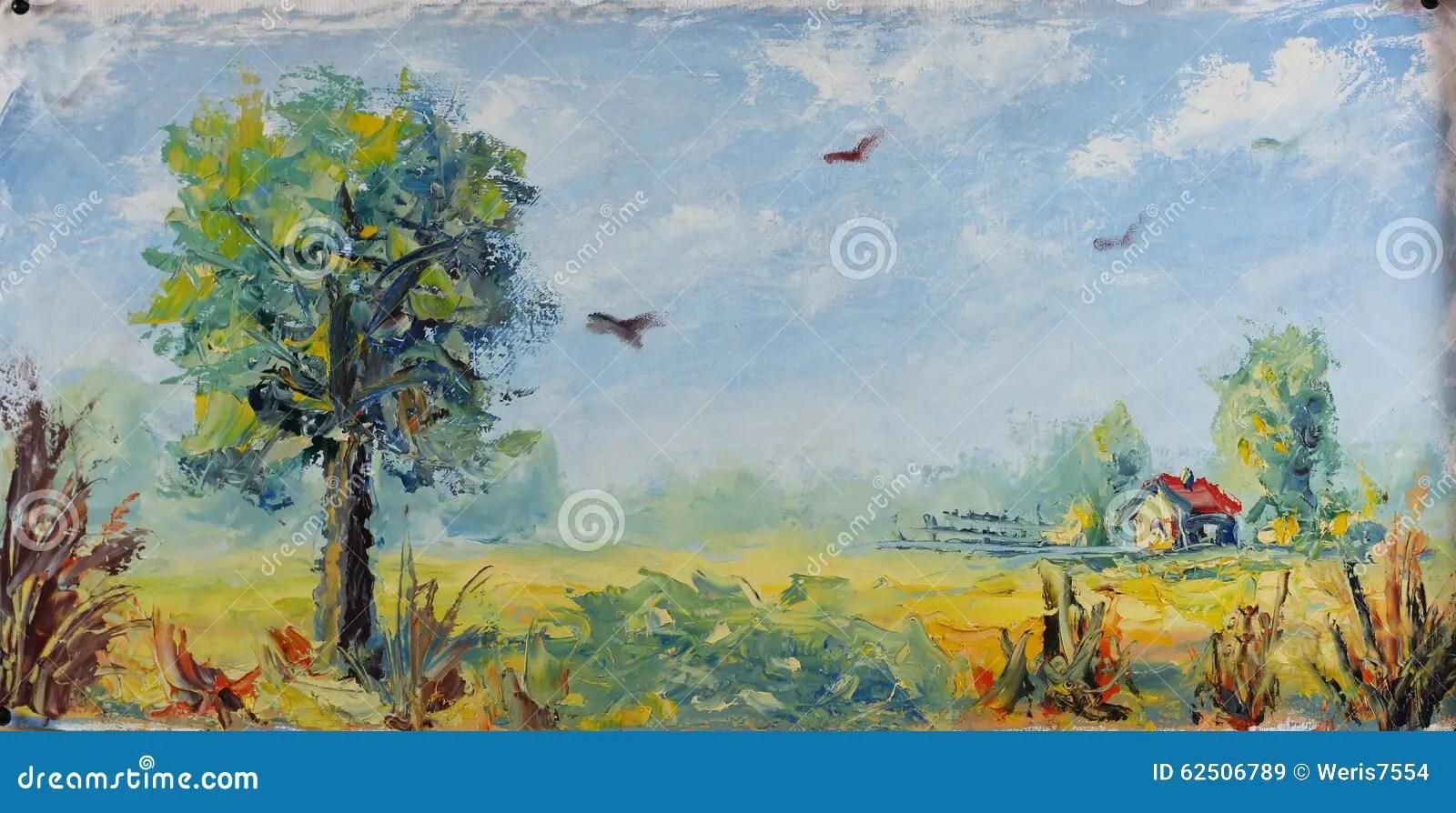 Old Farm Village Oil Painting Stock Illustration Image