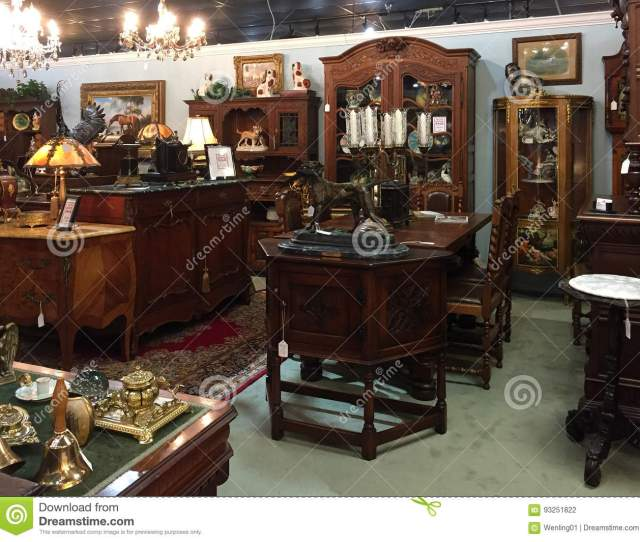 Old Fashioned Furniture For Sale At Antique Store