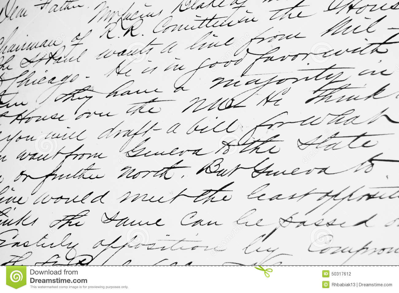 Old Fashioned Handwriting Stock Photo Image Of Fashioned