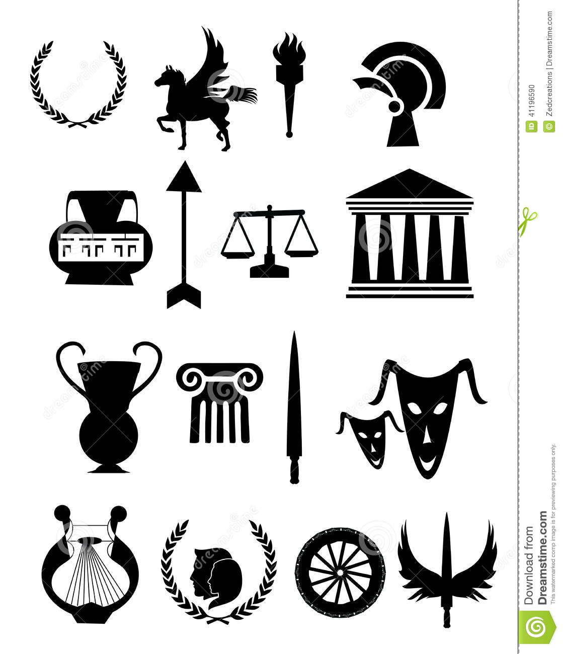 Old Greece Icons Set Stock Vector Illustration Of Amphora