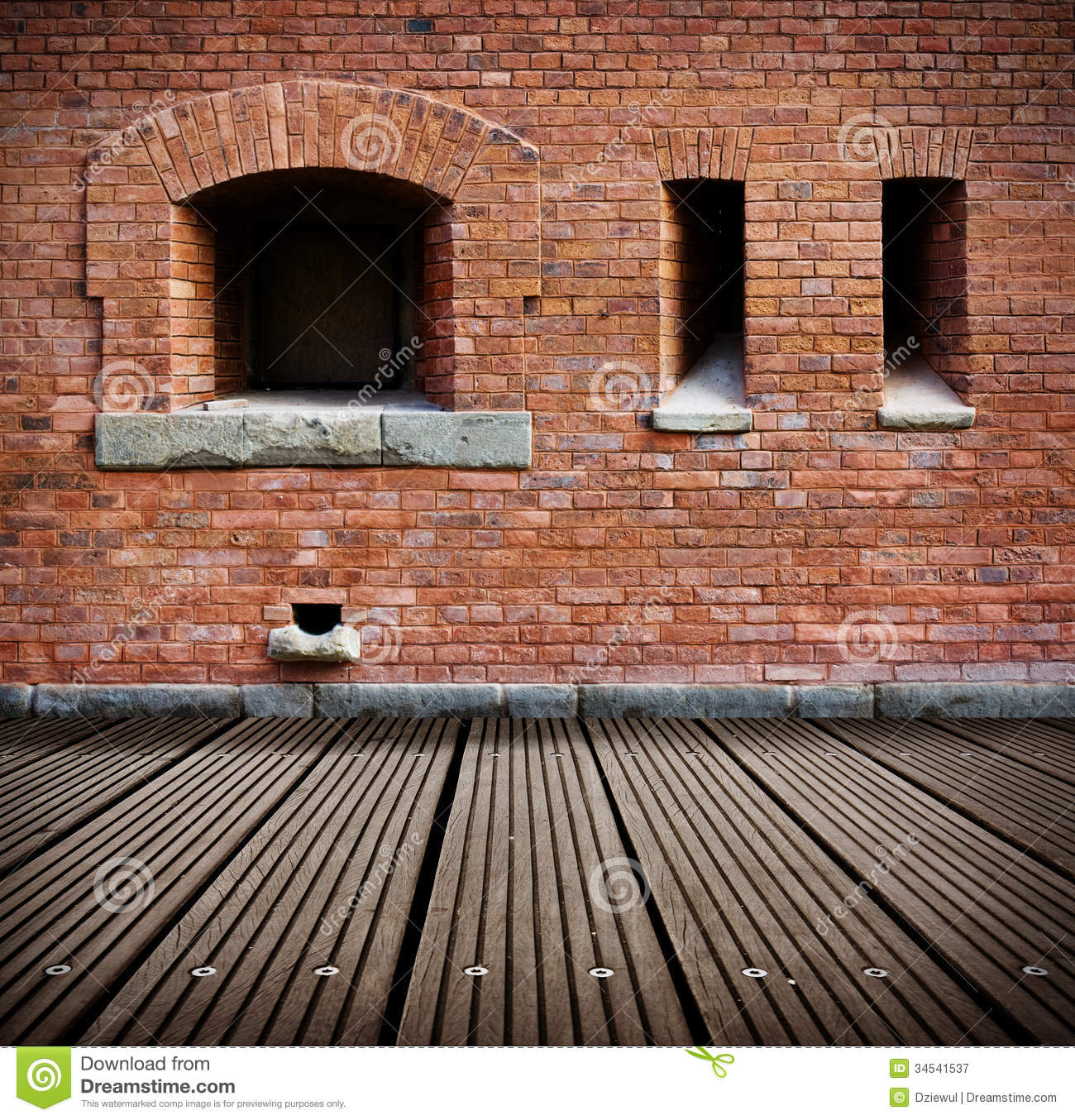 Old Grunge Interior With Brick Wall Royalty Free Stock