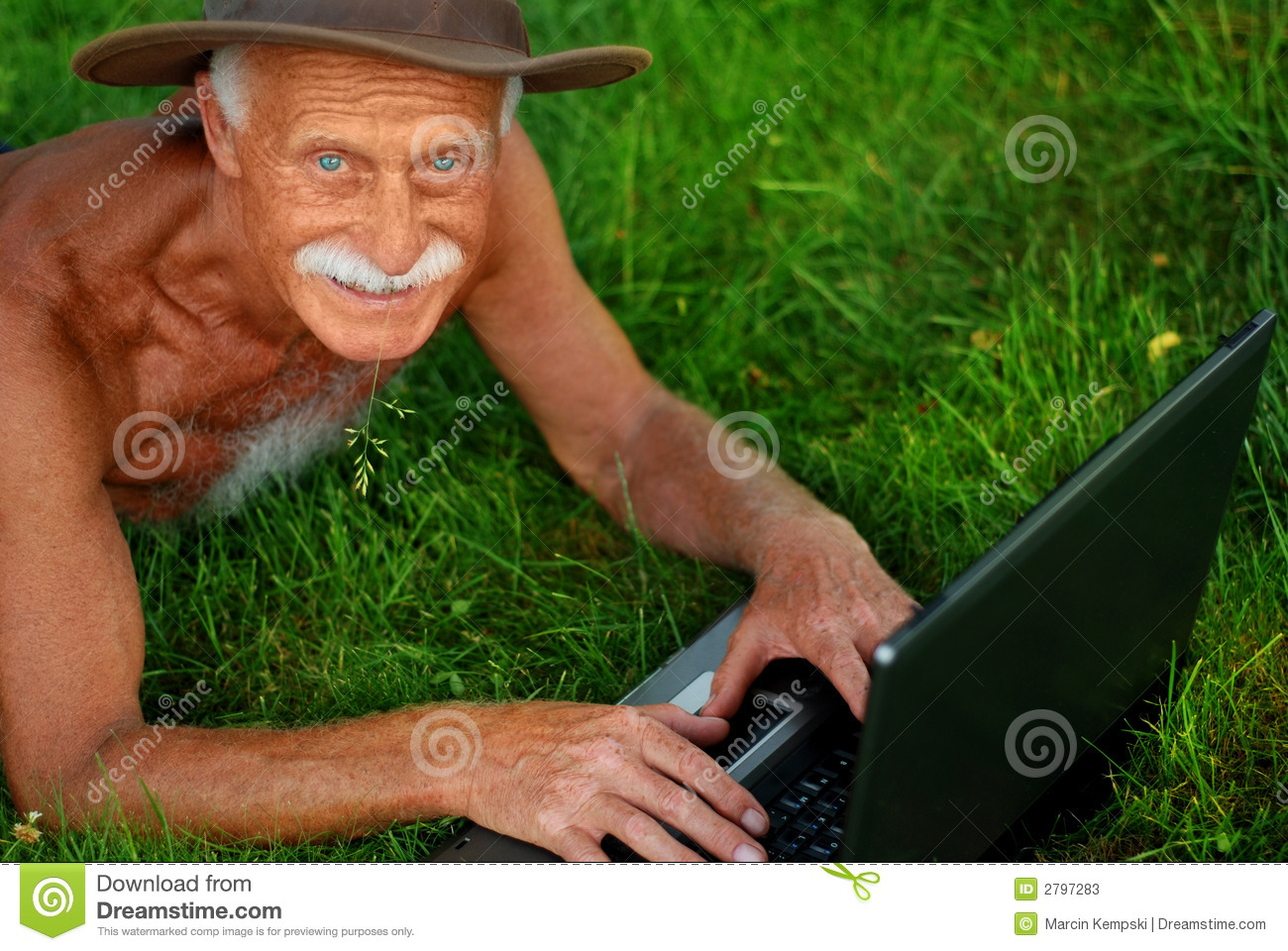 Old Man With Computer Stock Image Image Of Gray Adult 2797283