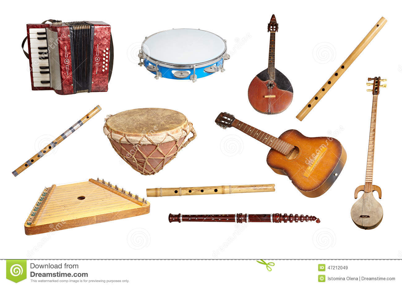 Old Musical Instruments Stock Photo