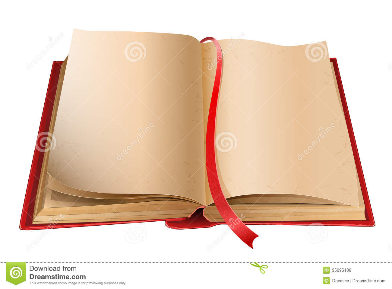 old open book with blank pages isolated on white background
