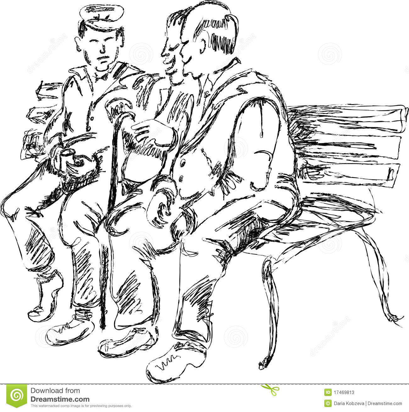 Old People Speaking On The Bench Stock Vector