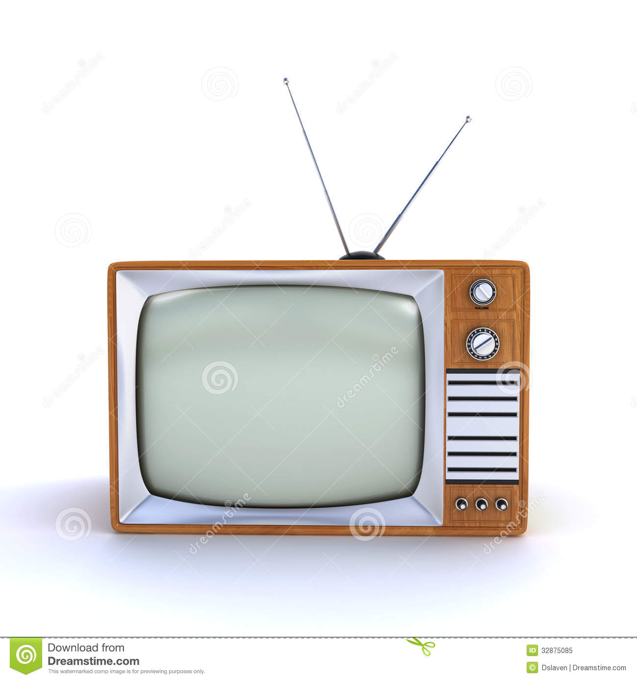 old fashioned retro tv on the white background 3d render