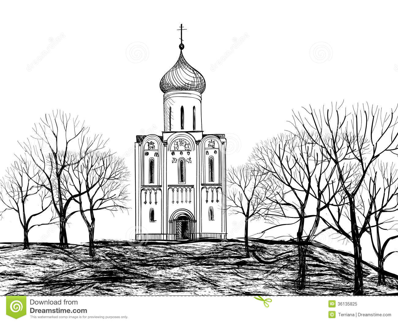 Old Russian Church Old Russian Town Landscape Hand Drawn