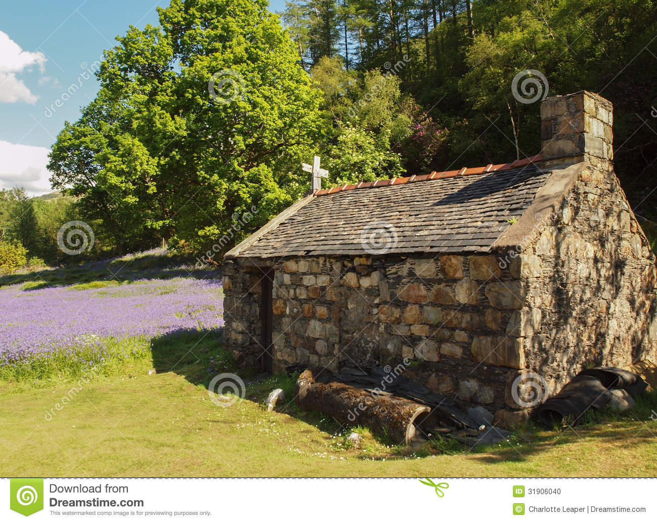 Old Stone Cottage Outhouse In Field Stock Photo Image