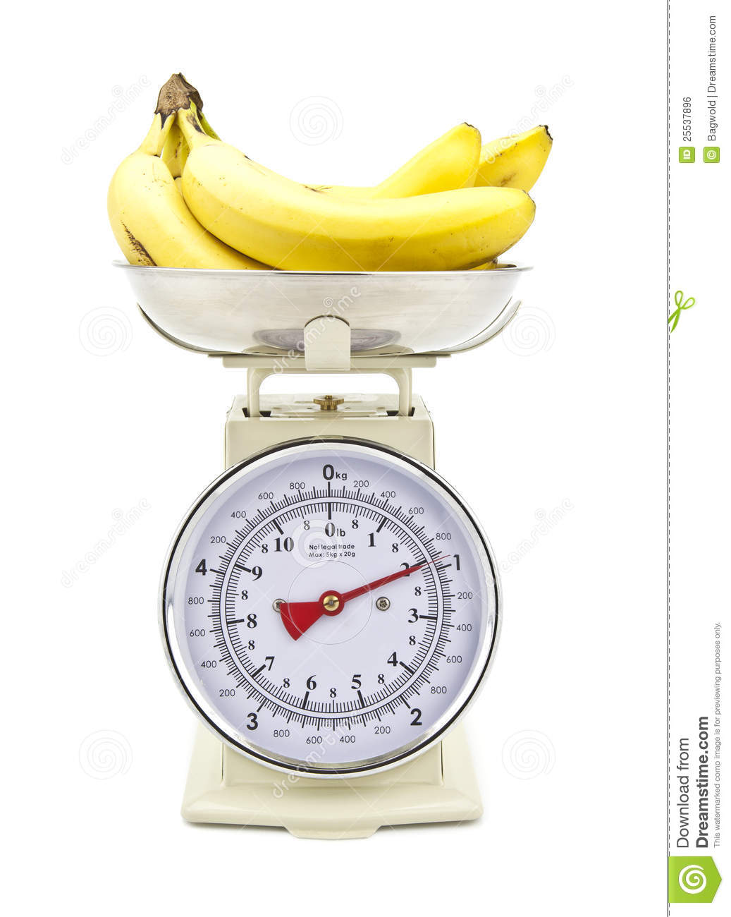 Old Style Kitchen Scales With Bananas Royalty Free Stock