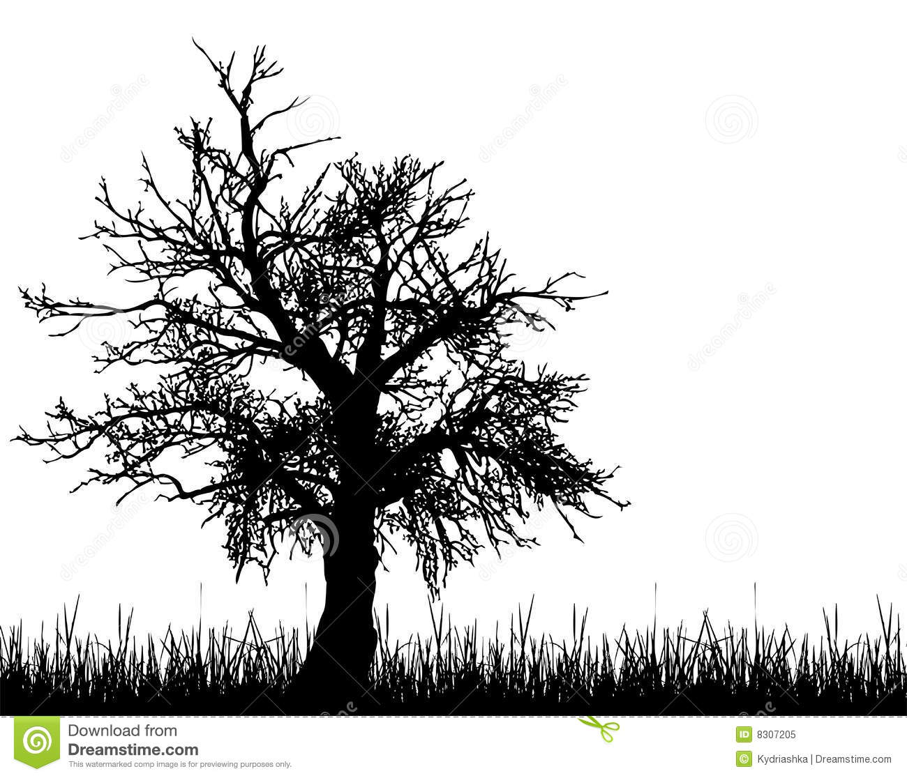 Old Tree Silhouette Stock Vector Illustration Of Nobody