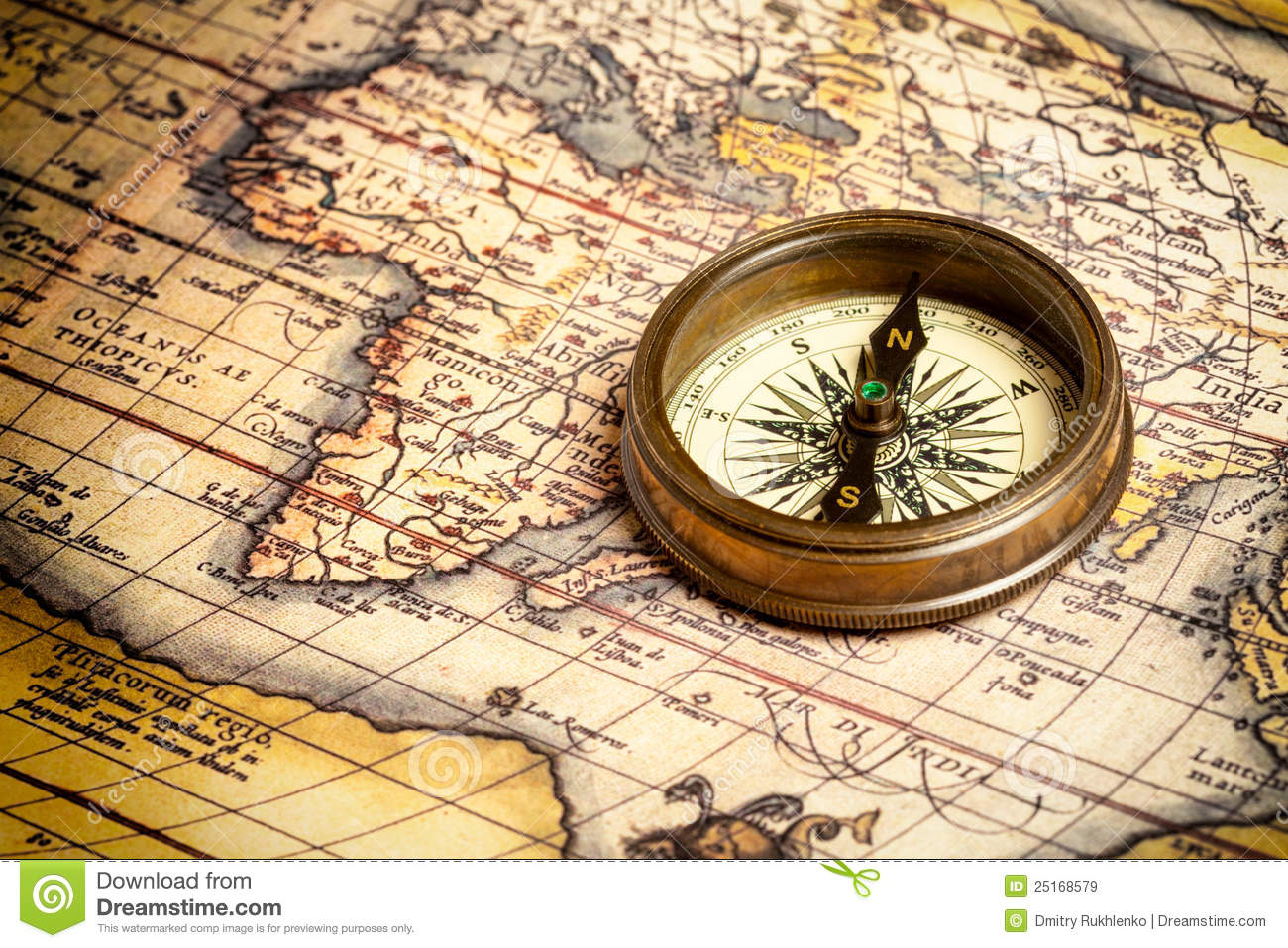 Old Vintage Compass On Ancient Map Royalty Free Stock