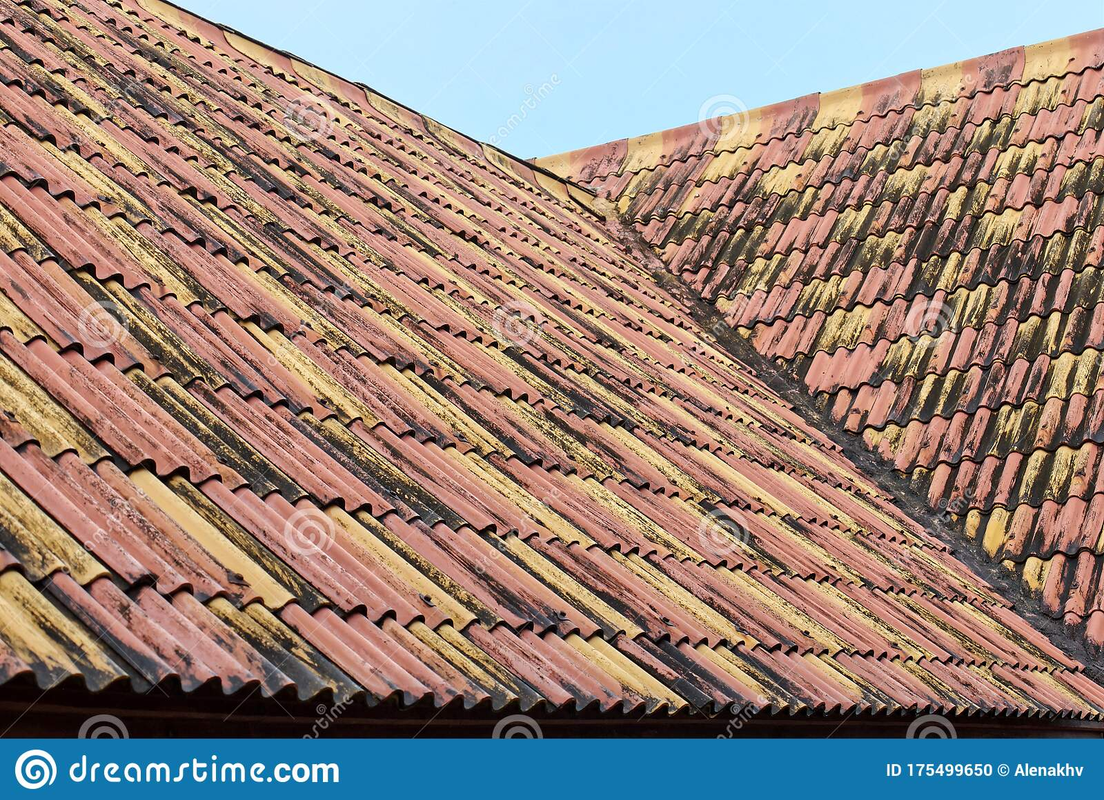 old weathered roof tiles close up of roof waved textures in red and yellow colors colored tiles form a pattern stock photo image of orange color 175499650