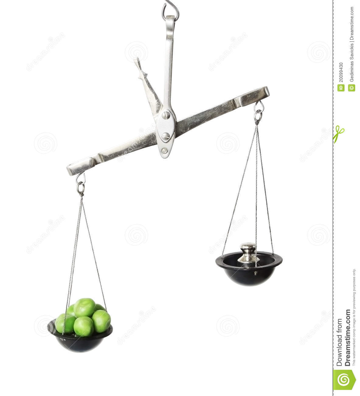 Old Weight Scale With Peas Stock Photo