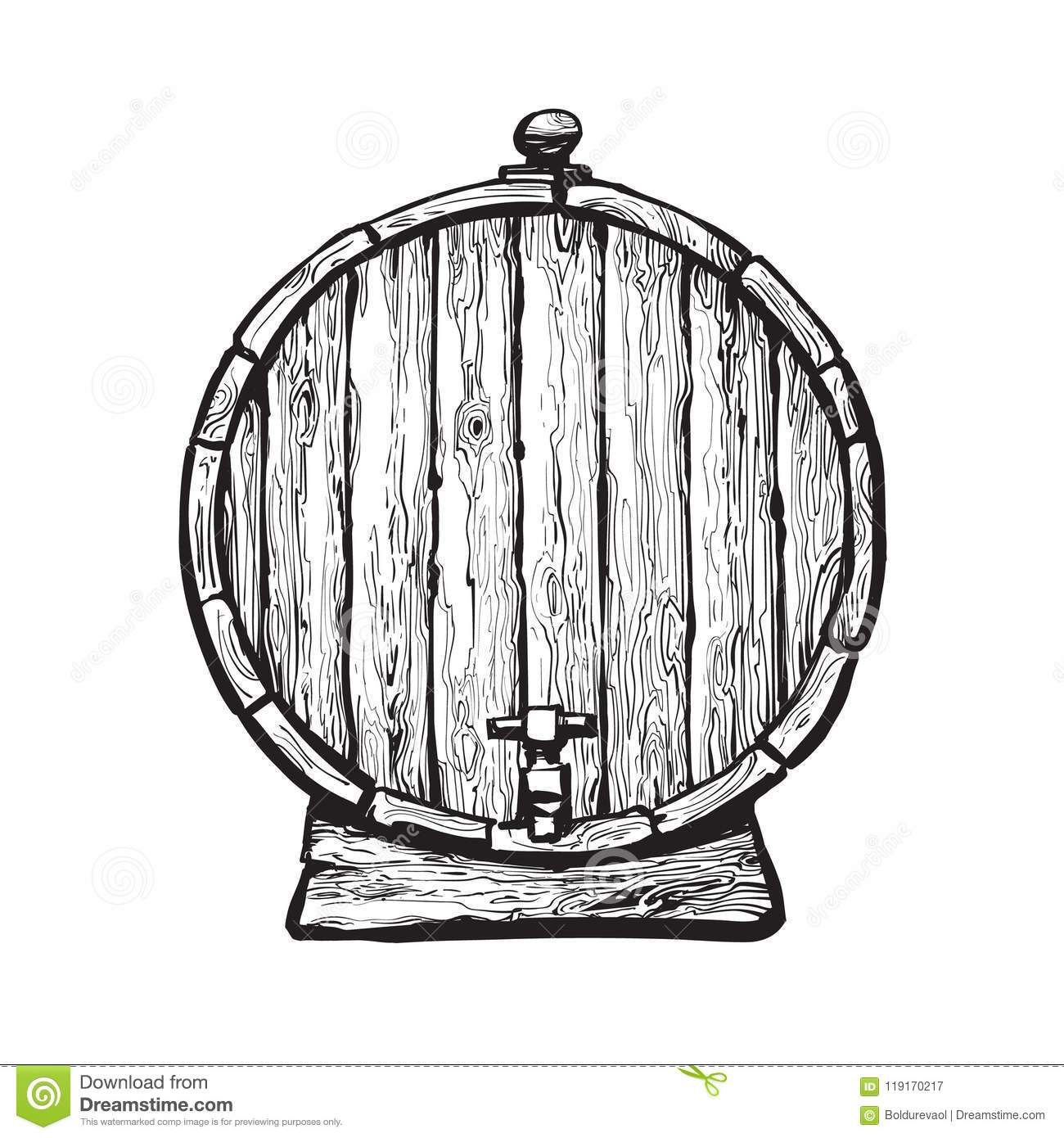 Old Wooden Barrel With Tap Stock Vector Illustration Of