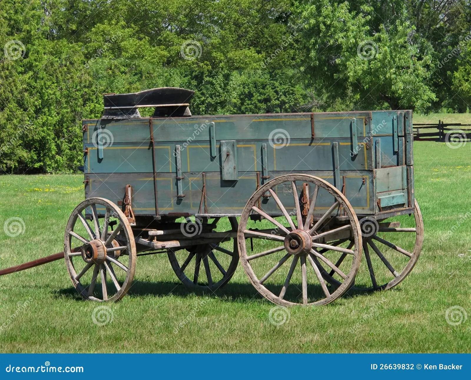 Old Wooden Buckboard Farm Wagon Stock Photography