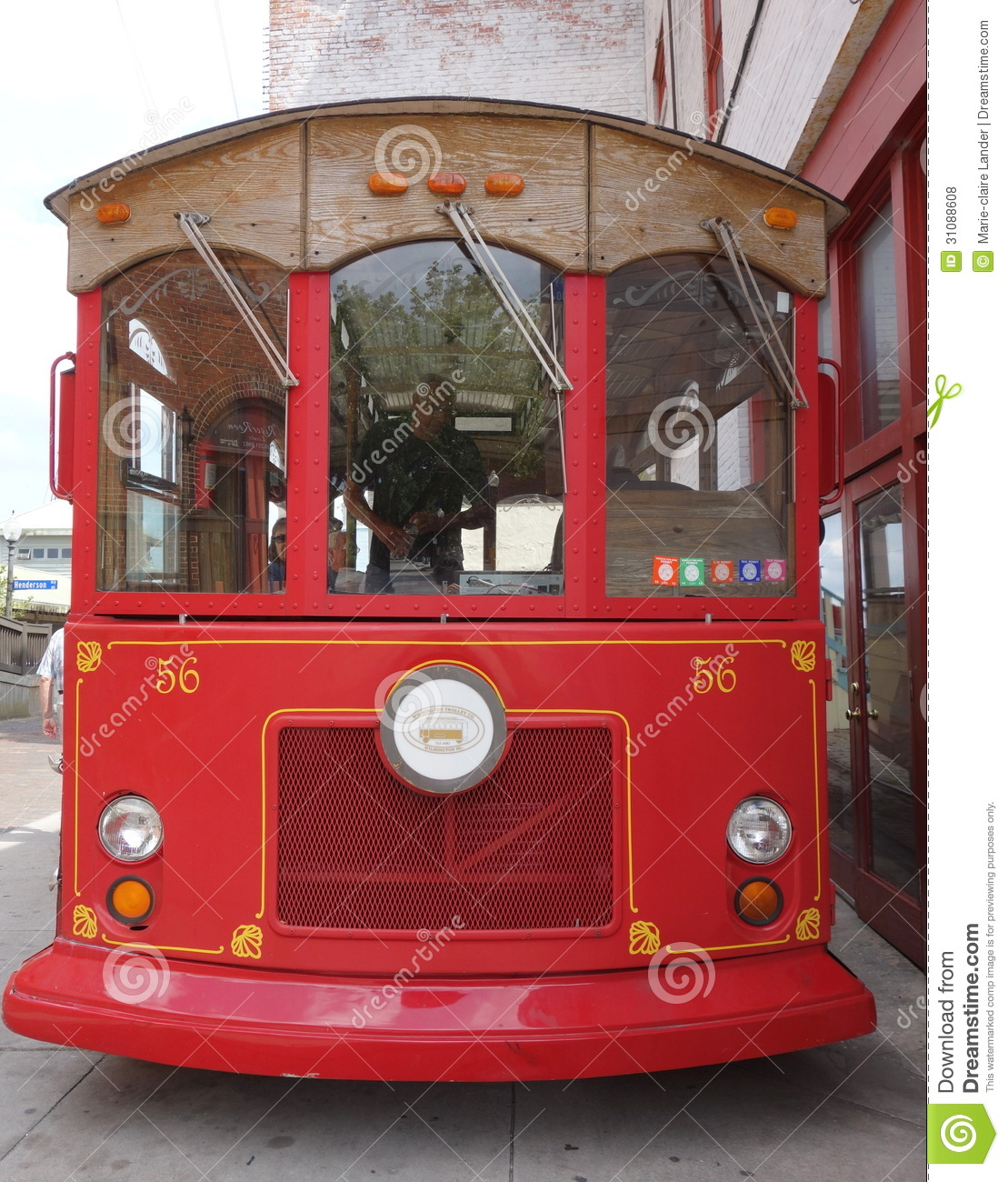 Oldfashioned Red Trolley Bus Front On Editorial Stock