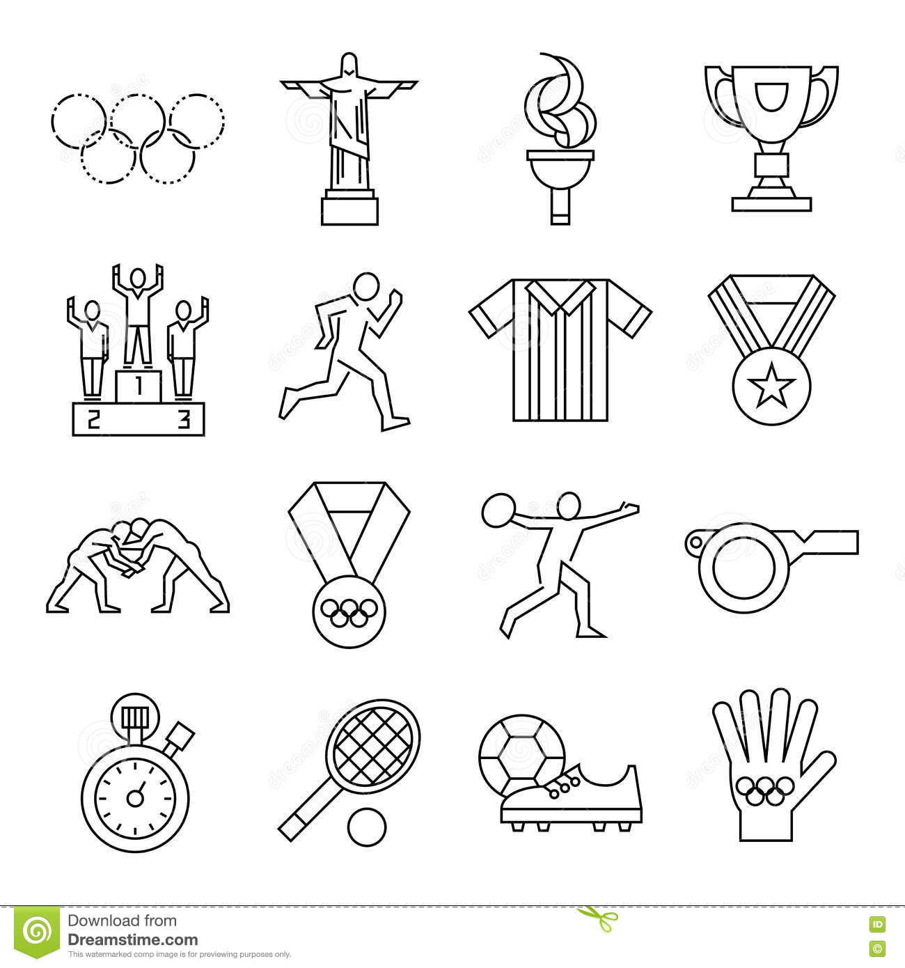 Olympic Torch And Flag Vector Illustration