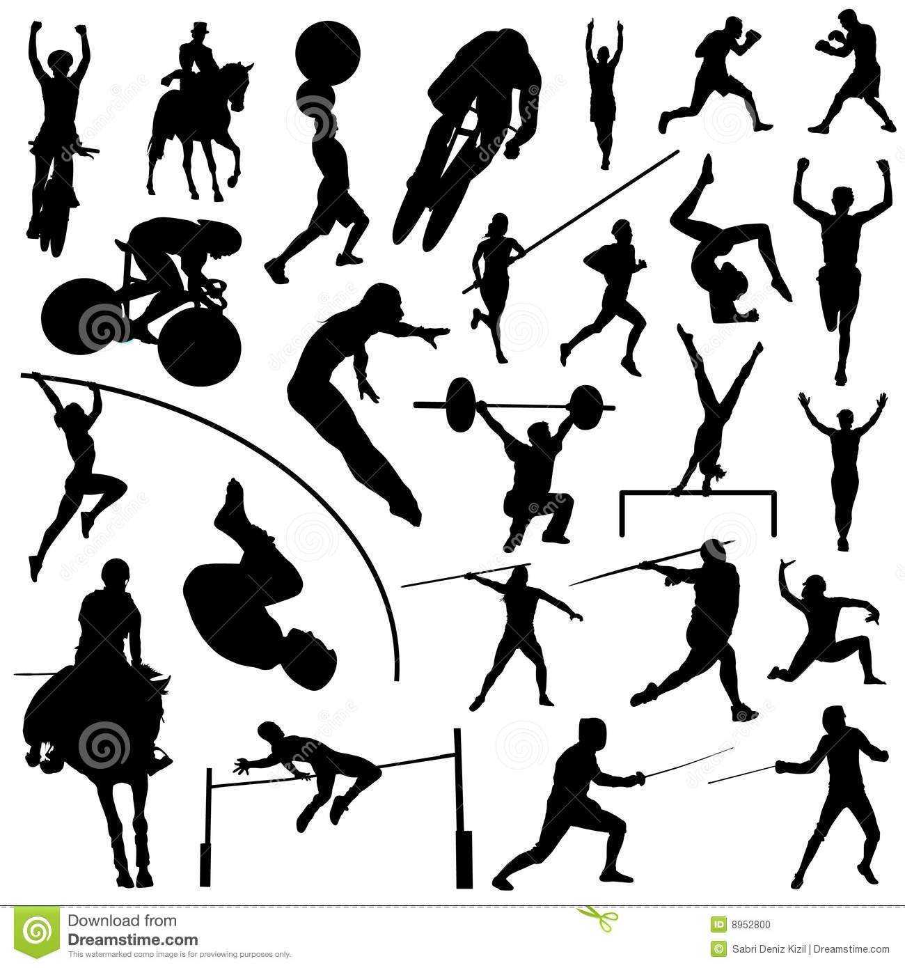 Equestrian Sport Vector Silhouettes 2 Vector Illustration