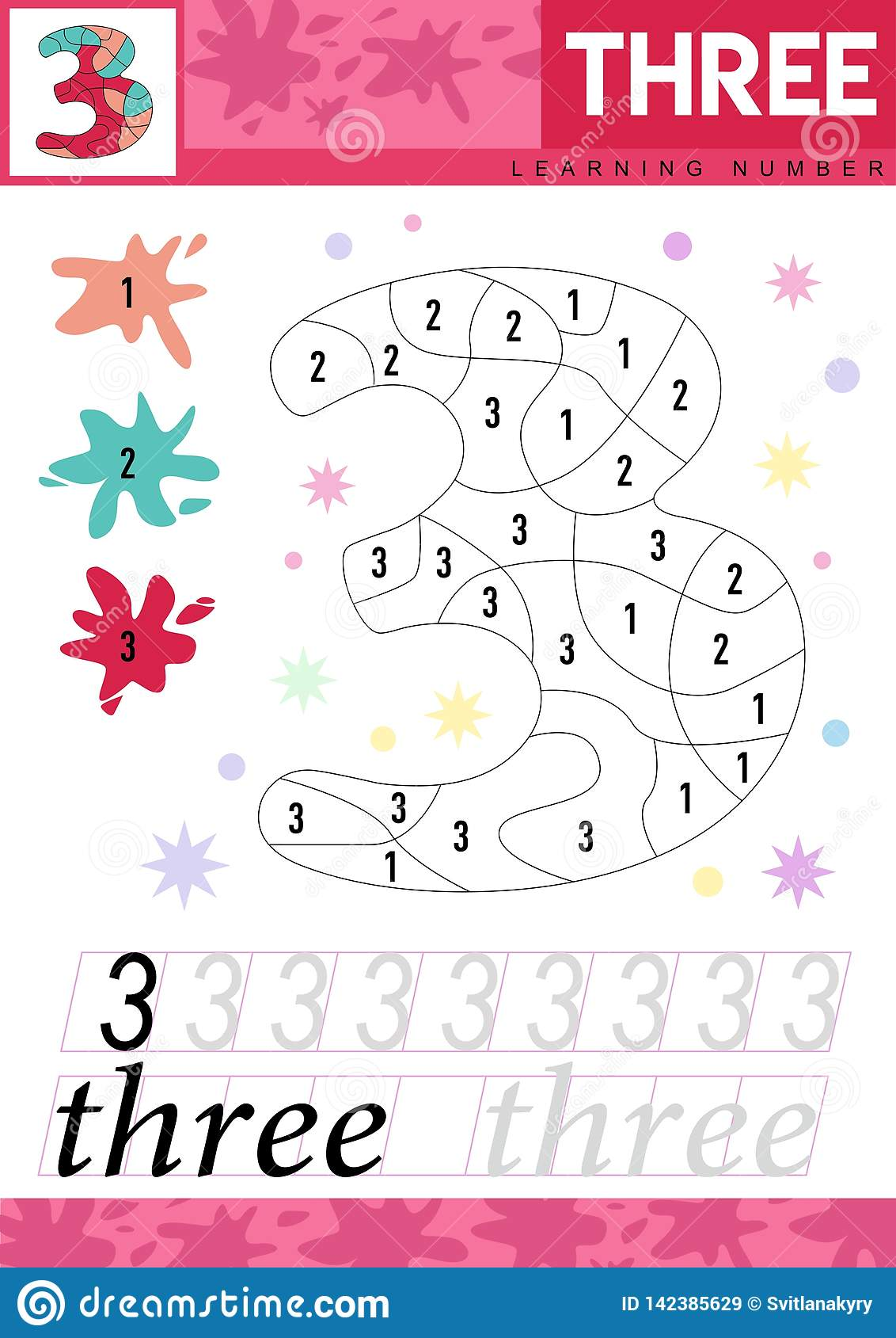Learn Numbers 3 Three Kids Learn To Count Worksheet