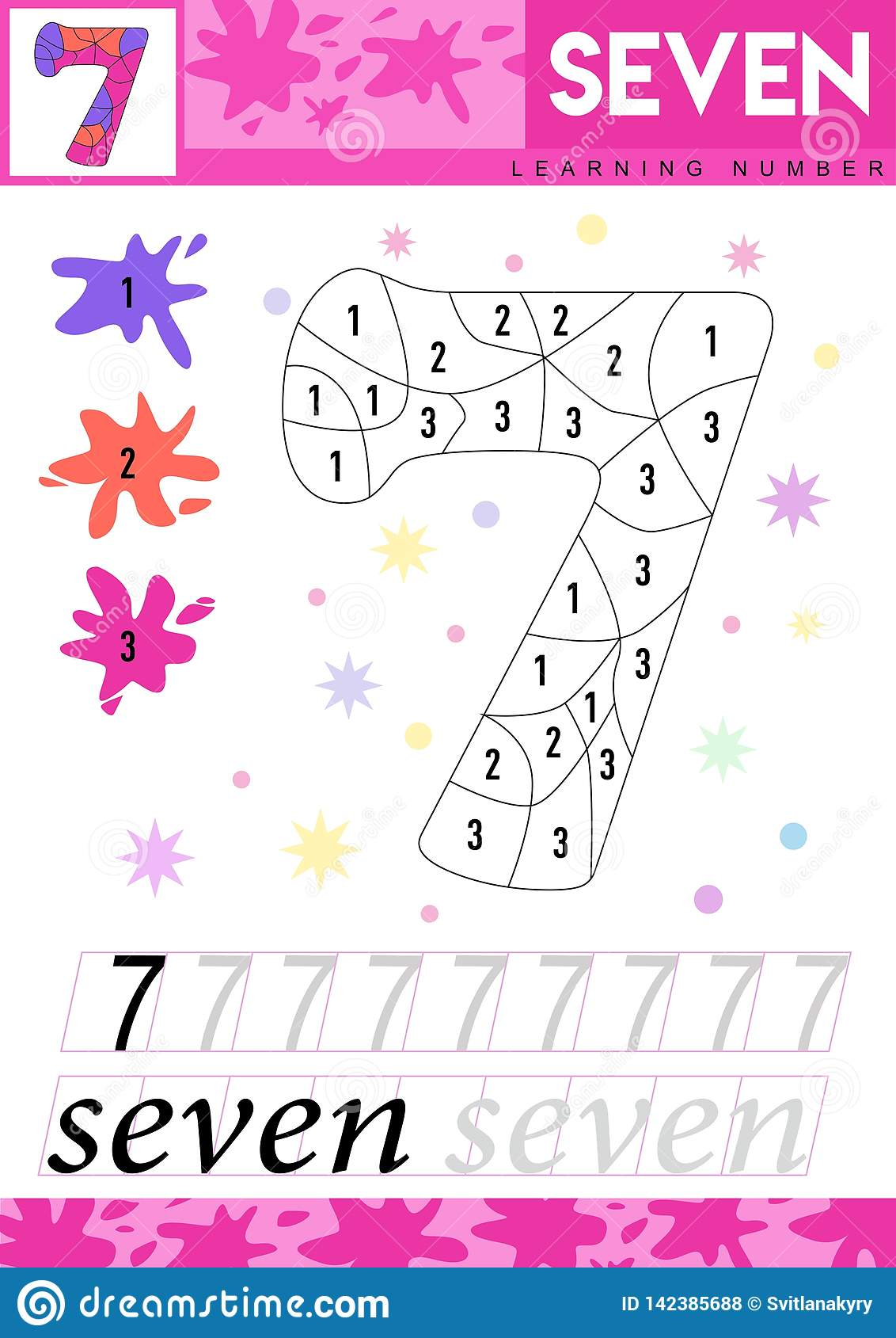 Learn Numbers 7 Seven Kids Learn To Count Worksheet