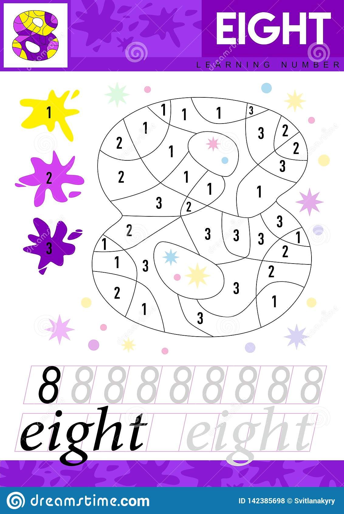 Learn Numbers 8 Eight Kids Learn To Count Worksheet