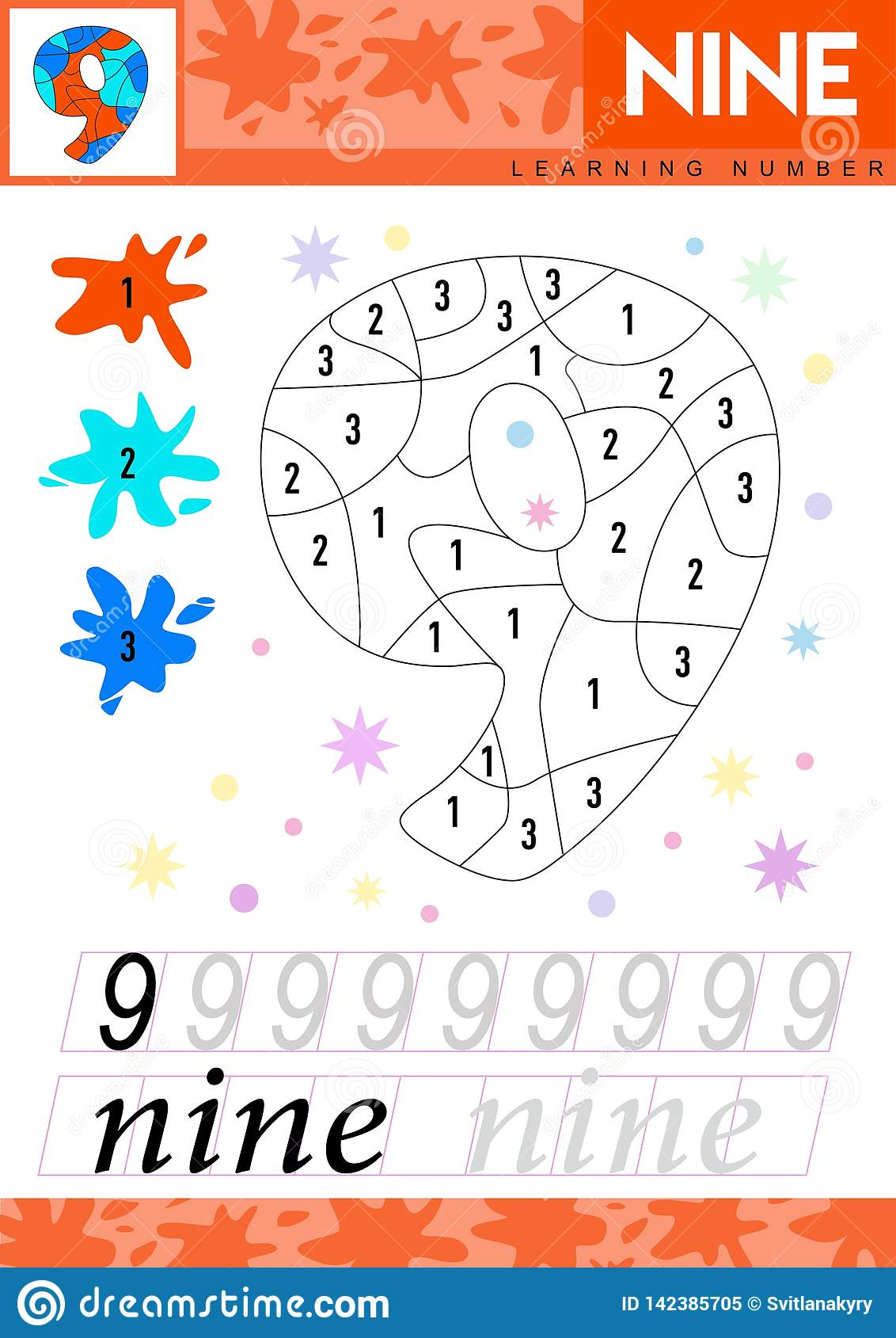 Learn Numbers 9 Nine Kids Learn To Count Worksheet