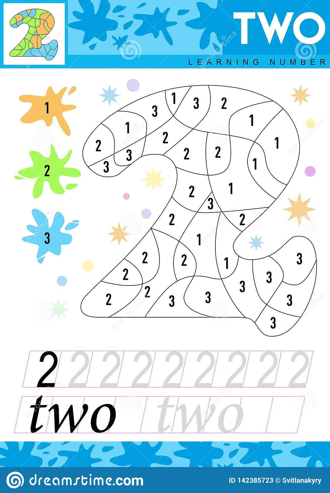 Learn Numbers 2 Two Kids Learn To Count Worksheet