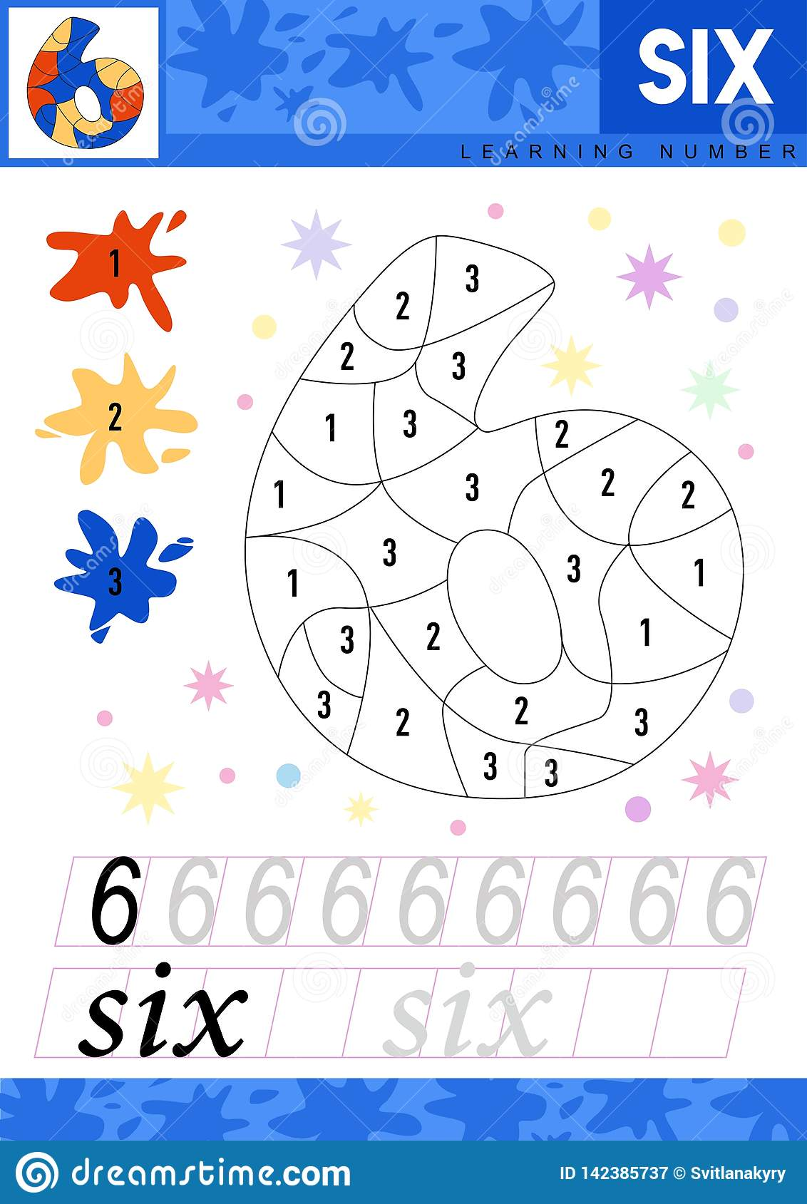 Learn Numbers 6 Six Kids Learn To Count Worksheet